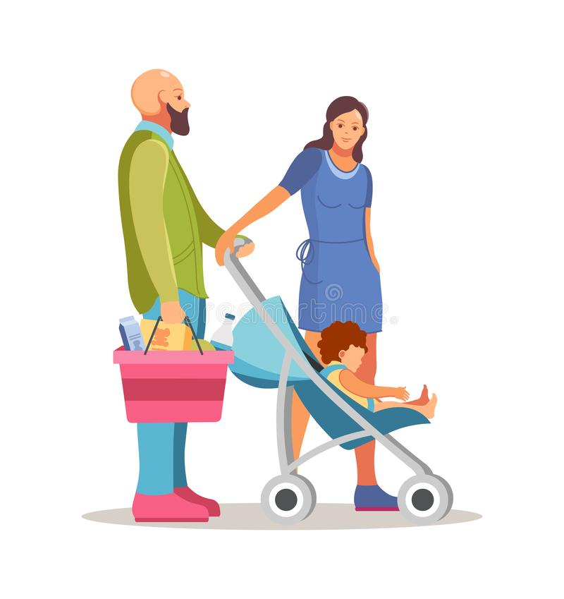 Happy family father, mother and baby shopping in supermarket stock illustration