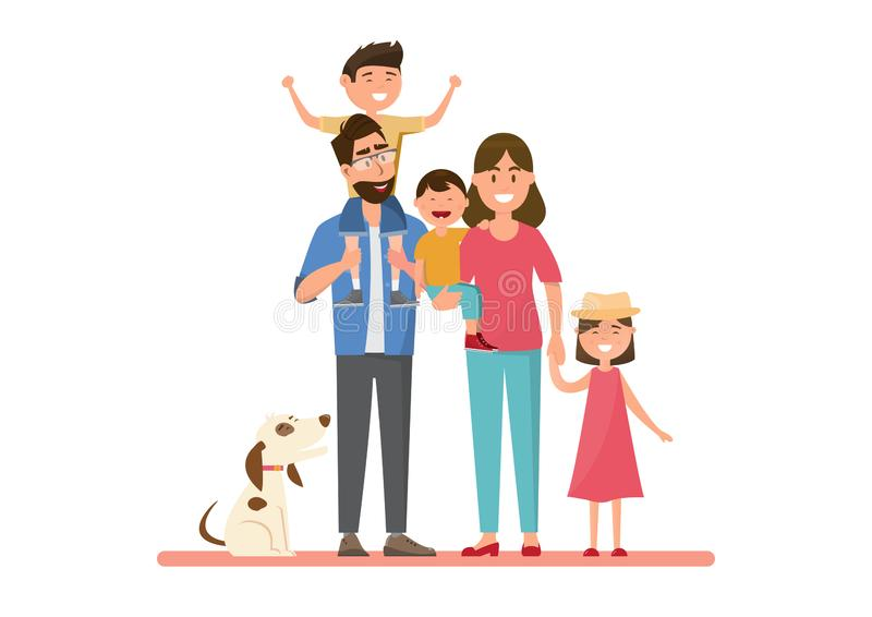 Happy family. father, mother, boy and girl riding on a bicycle together. Vector illustration flat design cartoon character bike ride man isolated people city vector illustration