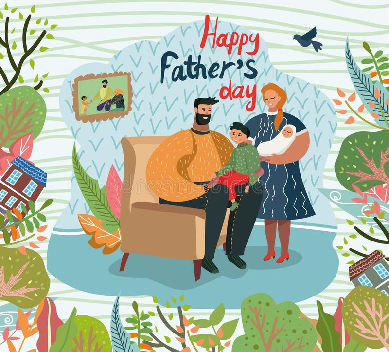Happy Fathers Day Greeting Card, Parents and Kids vector illustration