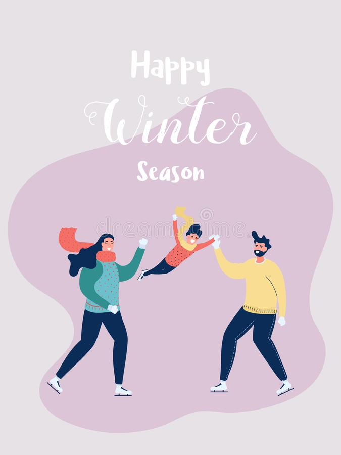 Happy family father, mother and son skating in the winter season. Dad raising his the boy. Happy family gesturing stock illustration