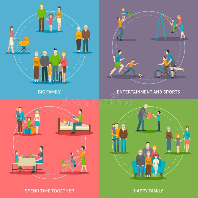 Happy Family Flat Concept stock illustration
