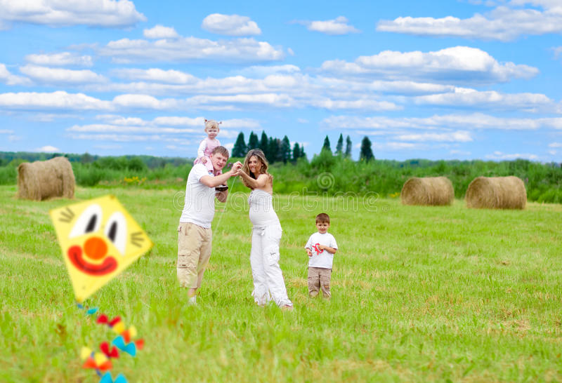 Download Happy Family Fly Kite Summertime Stock Image - Image: 15493083
