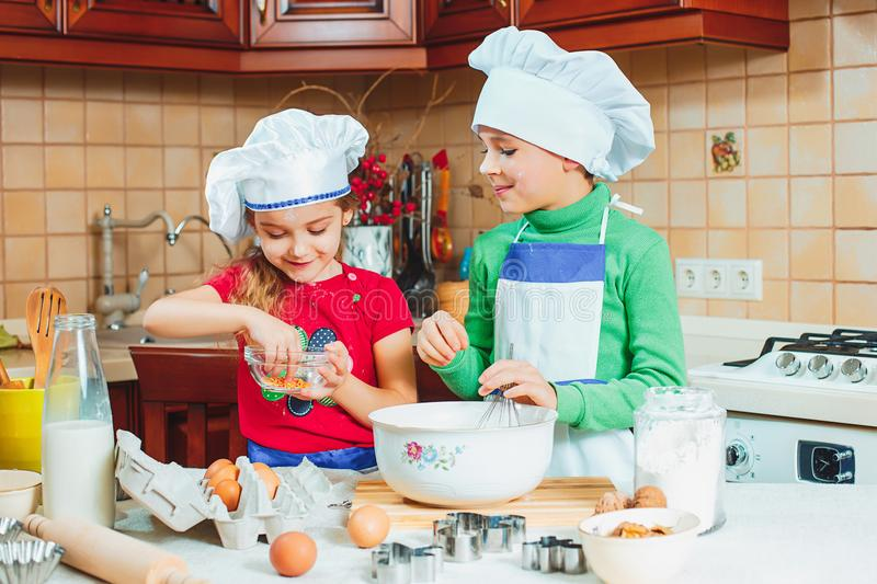 Happy family funny kids are preparing the dough, bake cookies in the kitchen. The happy two funny kids are preparing the dough, bake cookies in the kitchen royalty free stock photography