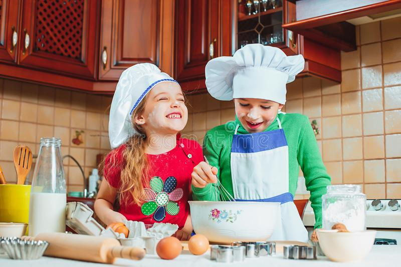 Happy family funny kids are preparing the dough, bake cookies in the kitchen. The happy two funny kids are preparing the dough, bake cookies in the kitchen royalty free stock photo