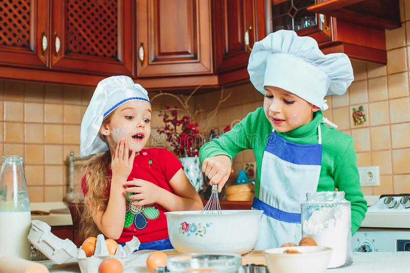 Happy family funny kids are preparing the dough, bake cookies in the kitchen. The happy two funny kids are preparing the dough, bake cookies in the kitchen stock image