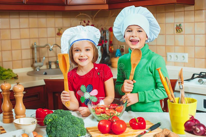 Happy family funny kids are preparing the a fresh vegetable salad in the kitchen royalty free stock photo