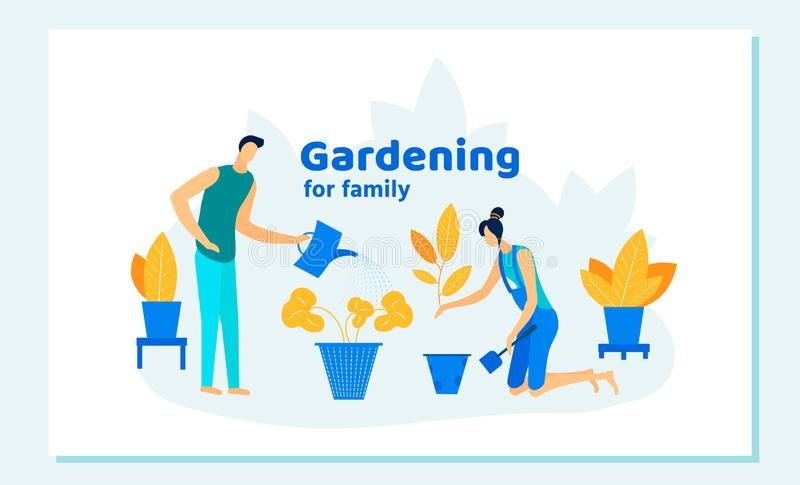 Happy Family Gardening Homework, Care of Plants. stock illustration