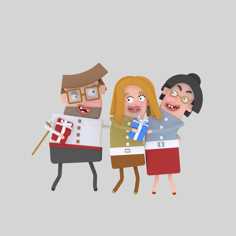 Happy family with gift. 3D vector illustration