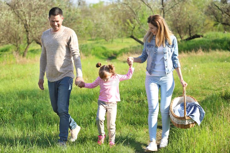 Happy family going on picnic in park royalty free stock image