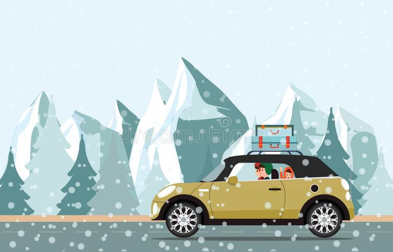 Happy family going to a winter traveling through snowy. royalty free illustration