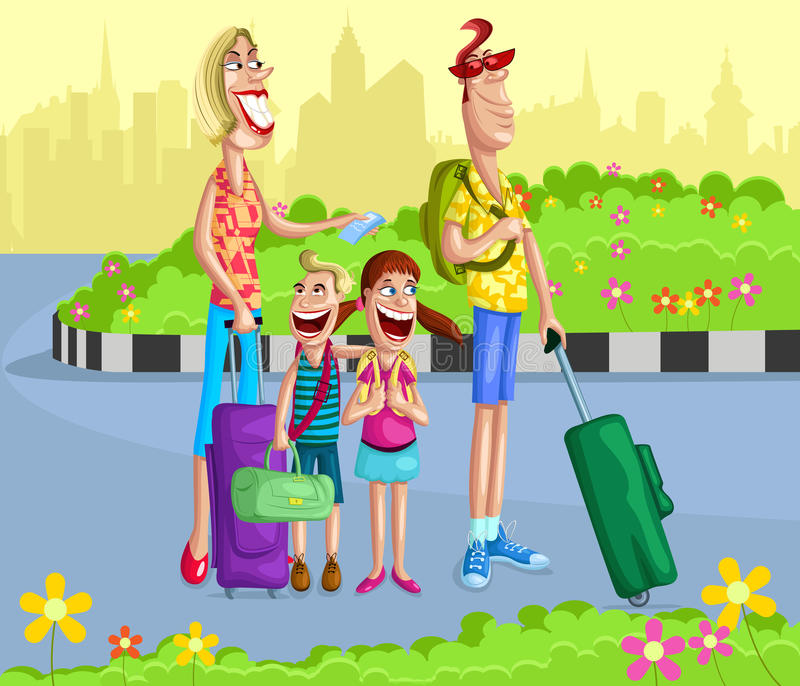 Happy family going for vacation. With travel bag vector illustration