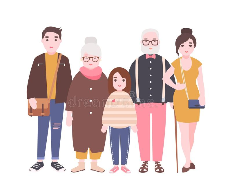 Happy family with grandfather, grandmother, father, mother and child girl standing together. Cute funny cartoon stock illustration