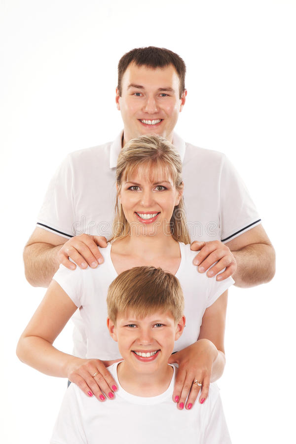 A happy family group portrait in white t-shirts stock photography