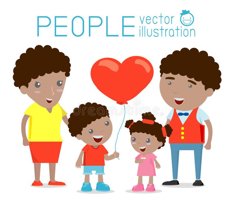 Happy family , Happy family gesturing with cheerful smile, Parents with kids. Vector colorful illustration in flat design isolated. On white background, african stock illustration