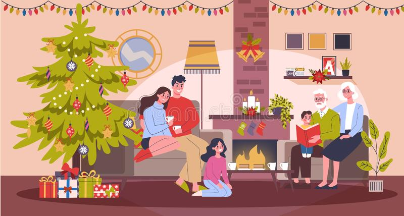 Happy family have fun on the christmas celebration royalty free illustration