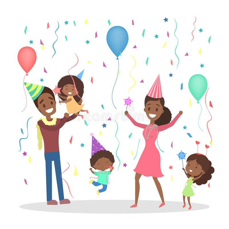 Happy family have a party stock illustration