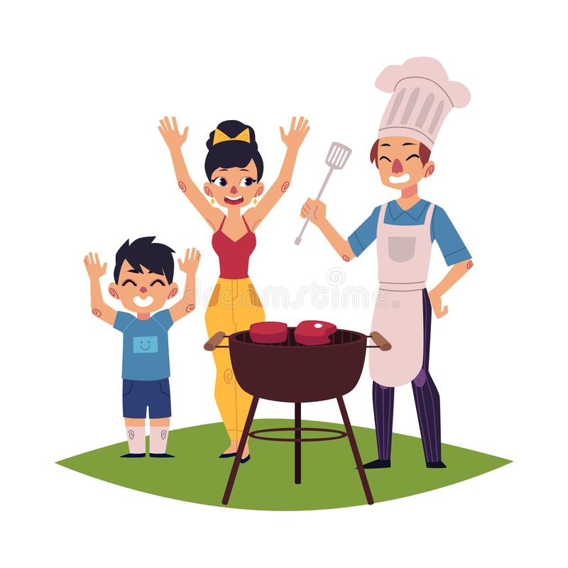 Happy family having BBQ, barbeque picnic outdoors. Family having BBQ, barbeque outdoors, man in chef hat and apron cooking, woman and kid saying hooray, cartoon royalty free illustration