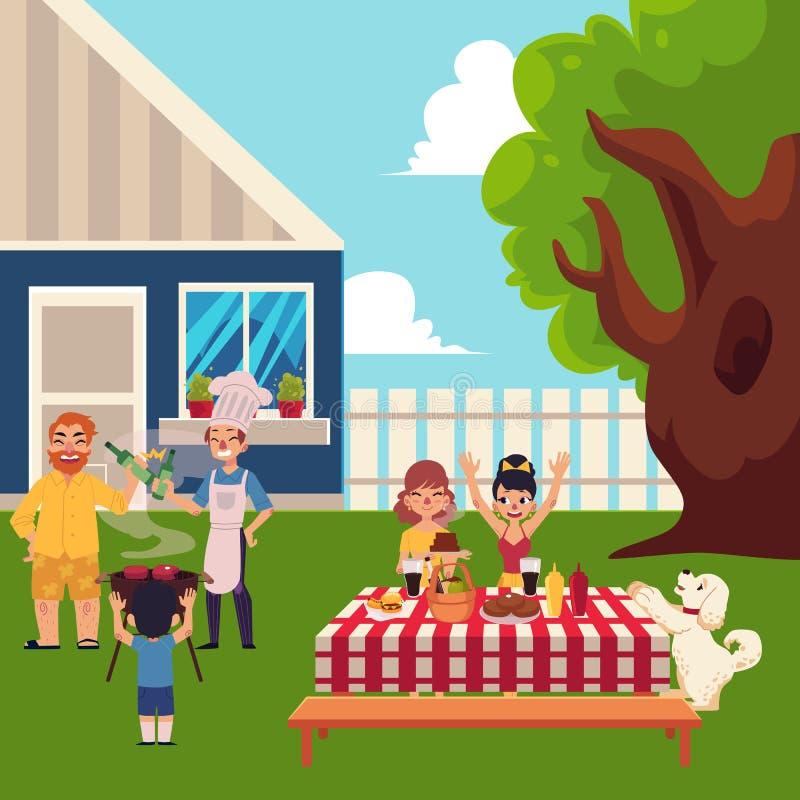 Happy family having BBQ picnic in the yard. Family having BBQ, barbeque in the yard, cooking meat, laying table, having fun, cartoon vector illustration. Happy royalty free illustration