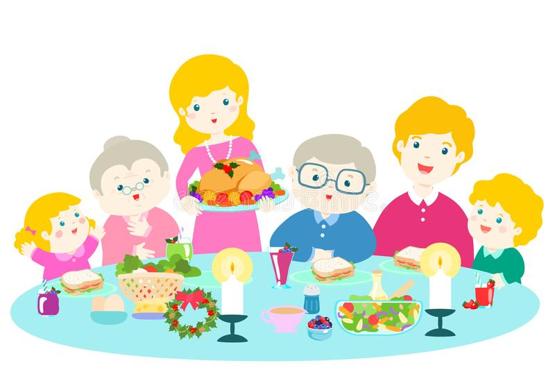 Happy family having a Christmas dinner . stock illustration