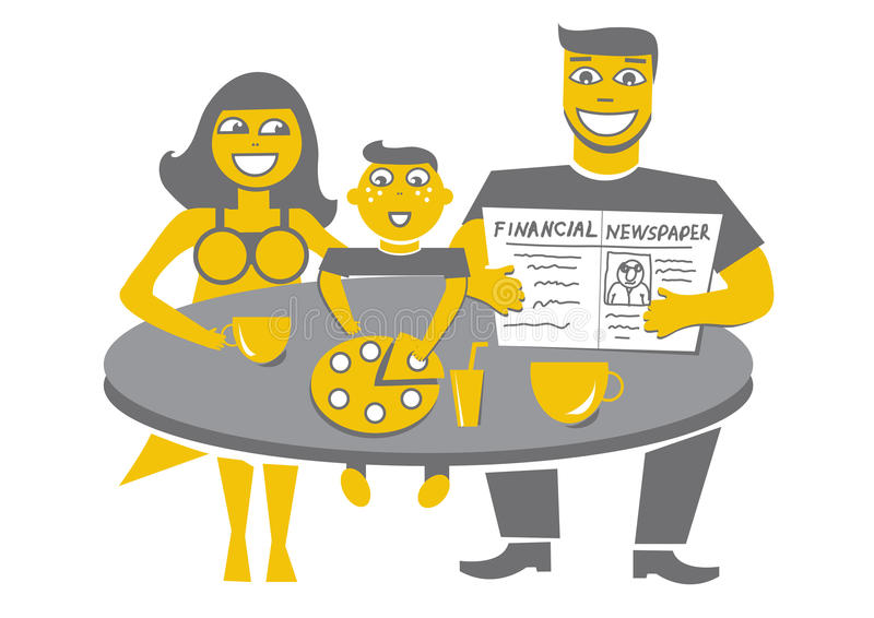 Happy family having dinner royalty free illustration