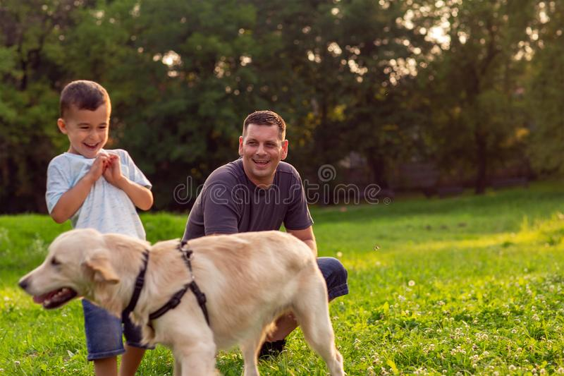 Happy family is having fun with golden retriever - Father and hi royalty free stock photography