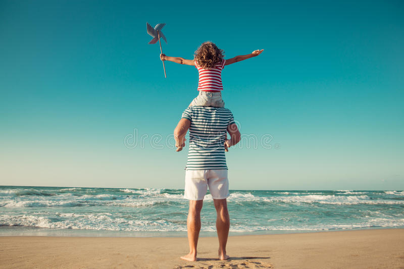 Happy family having fun on summer vacation royalty free stock photography