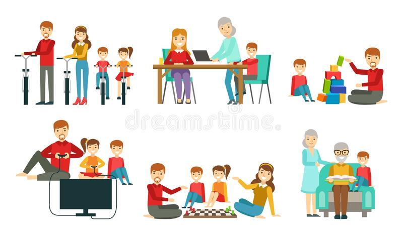 Happy Family Having Good Time Together Set, Grandparents, Parents and Children Riding Bikes, Playing Chess, Computer. Games and Toy Cubes, Reading Vector vector illustration