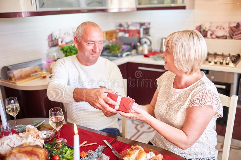 Happy family having holiday dinner at home. Food concept. stock photography
