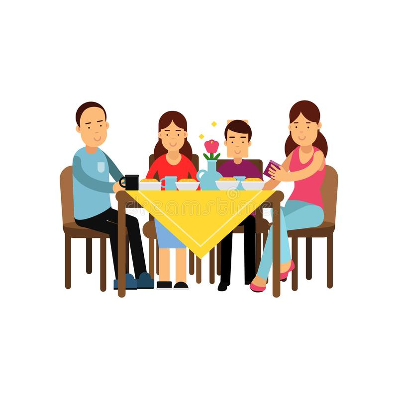 Happy family having meal together, husband and wife with children sitting at the table vector Illustration. Isolated on a white background royalty free illustration