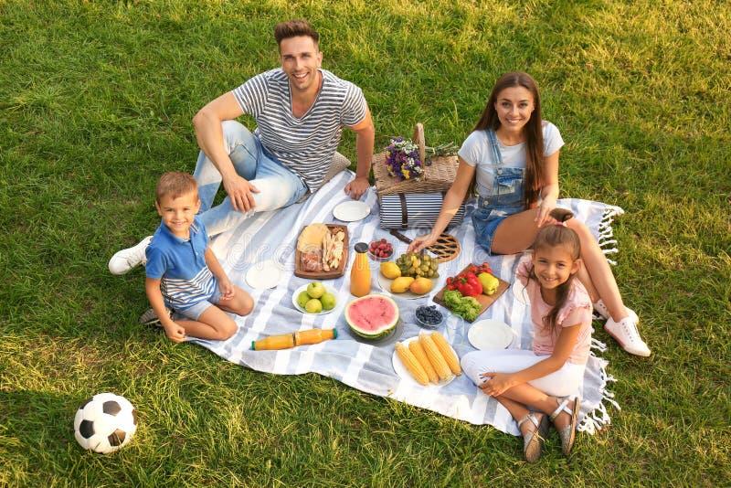 Happy family having  in park on sunny summer day. Happy family having picnic in park on sunny summer day stock photo