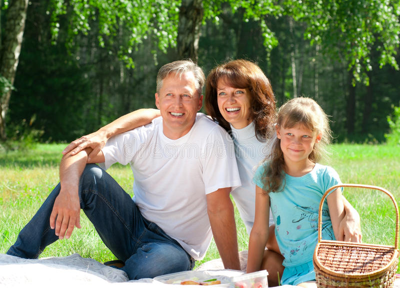 Download Happy family having picnic stock image. Image of female - 20108037