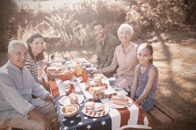 Happy family having a picnic royalty free stock images