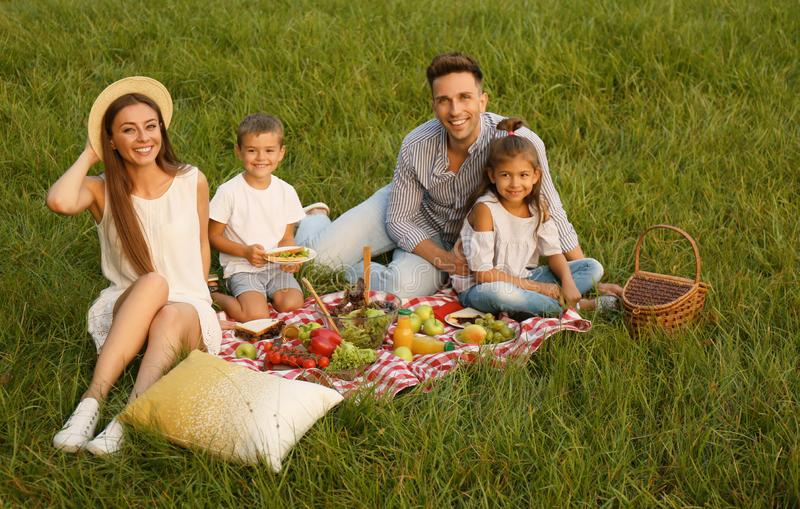 Happy family having picnic in park royalty free stock photos
