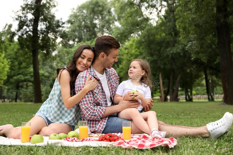 Happy family having picnic in park on summer royalty free stock images
