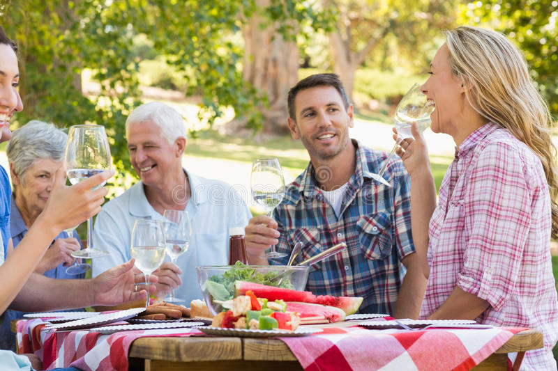 Happy family having picnic in the park. On a sunny day royalty free stock image
