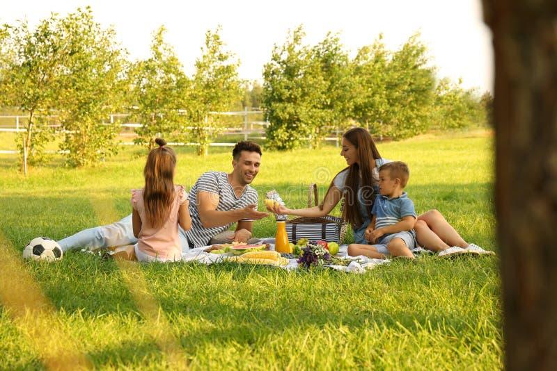 Happy family having picnic in park on sunny  day. Happy family having picnic in park on sunny summer day royalty free stock photography