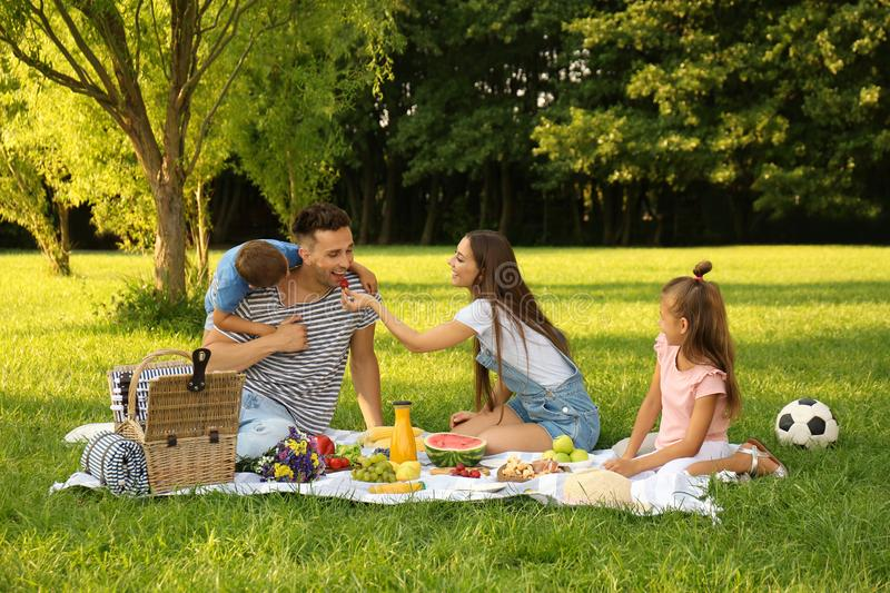 Happy family having picnic in park on summer day royalty free stock photos