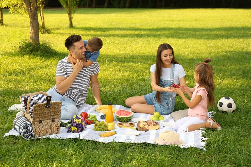 Happy family having picnic in park on summer day royalty free stock images