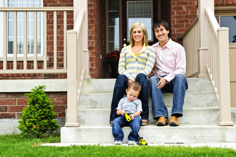 Download Happy family at home stock image. Image of sitting, porch - 10565993