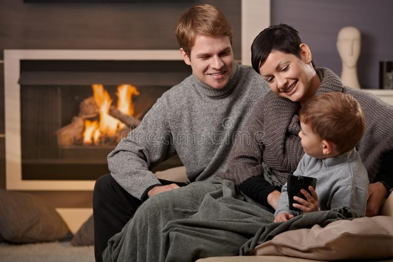 Download Happy family at home stock image. Image of couch, domestic - 11677953