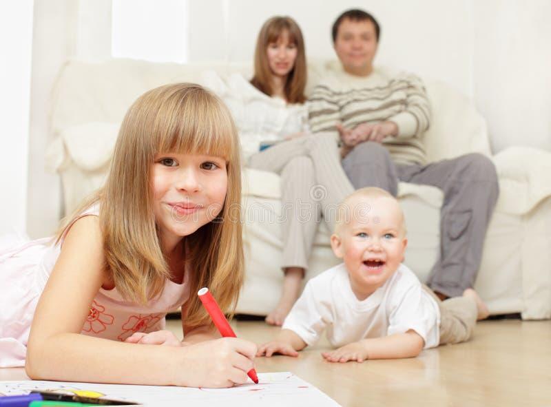 Happy family at home stock photo