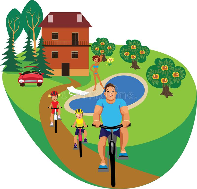 Happy family at home, father, son and daughter ride on bicycle, mother at the pool royalty free illustration