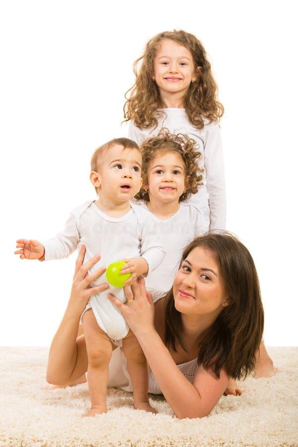 Happy family home stock photos