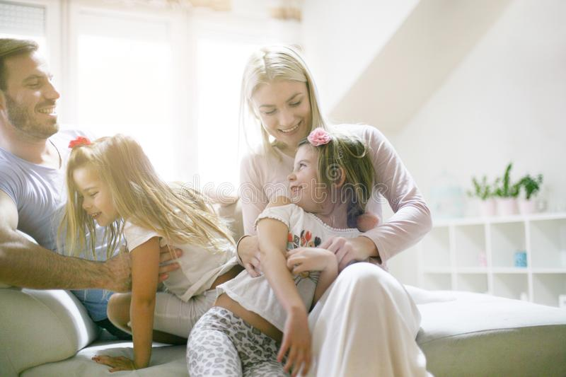 Happy family at home. Smiling day. stock photography