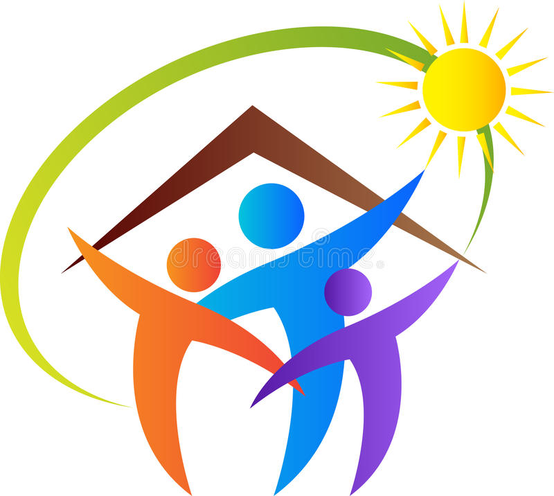 Happy family home. A vector drawing represents happy family home design