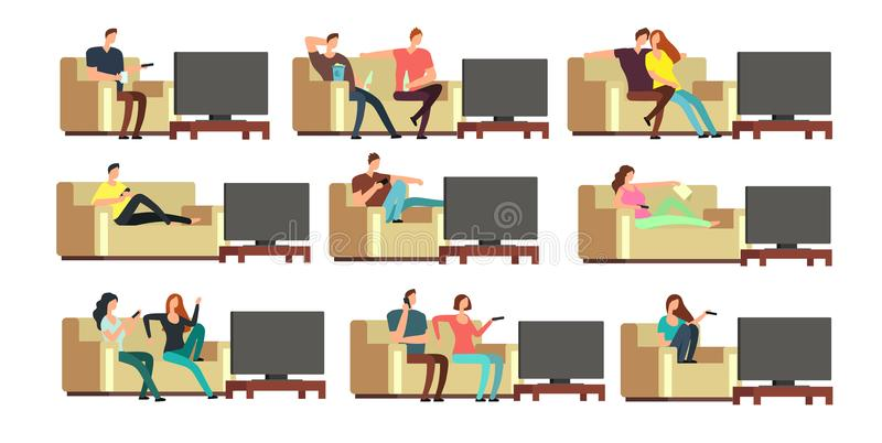 Happy family at home watching tv. Young couple resting on comfortable couch vector set. Couple man and woman on sofa illustration royalty free illustration