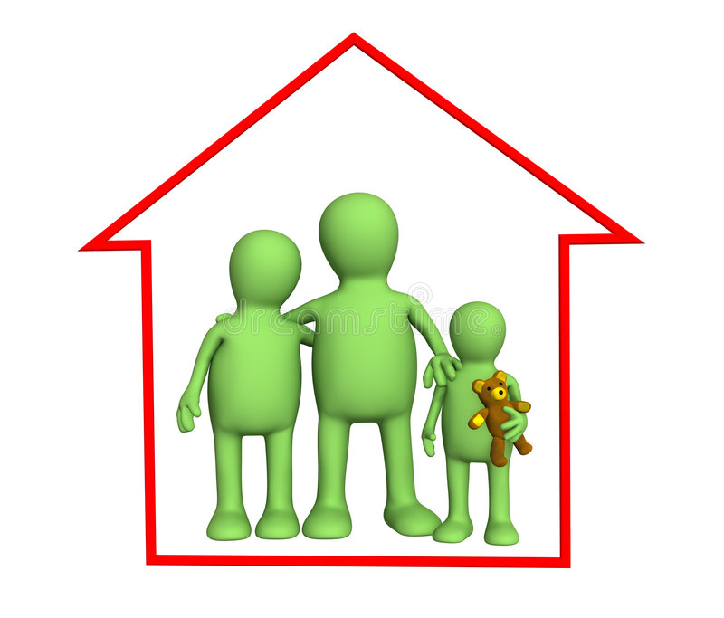 Happy family in the house stock photo