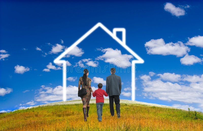 Happy family with house. Field, sky, herb, yellow, green, people, family, blue, joy, happiness royalty free stock photos
