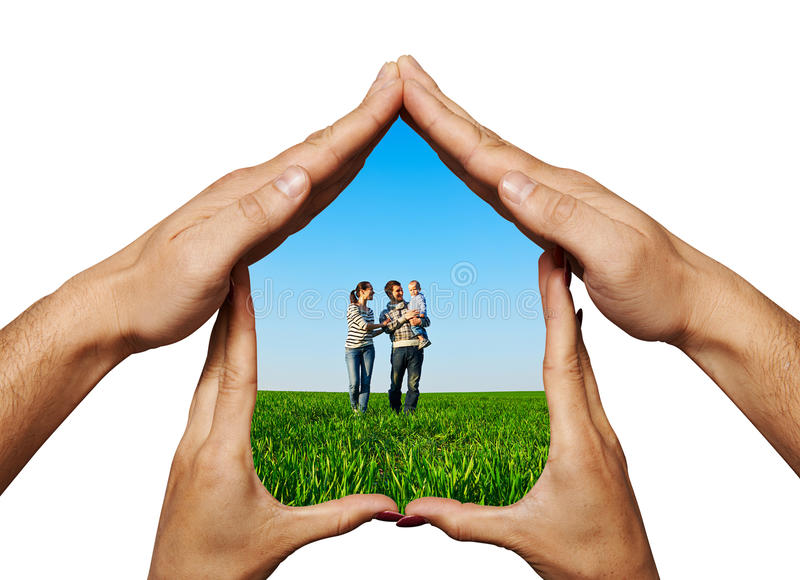 Happy family in a house. Concept photo of happy family in a house stock photos
