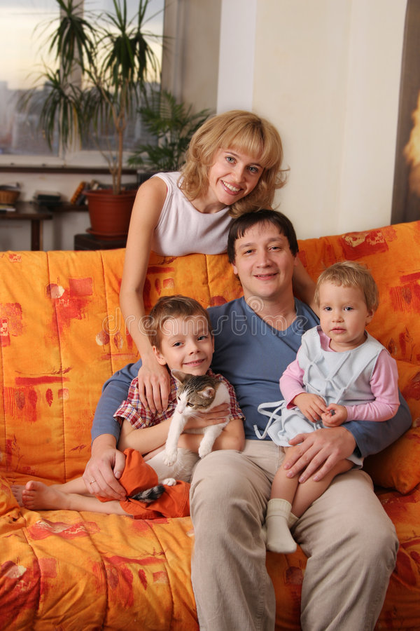 Download Happy Family Of The House On A Sofa Stock Image - Image: 7515451